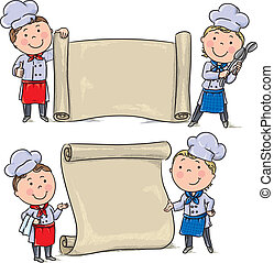 Two funny kids cook with banner scroll