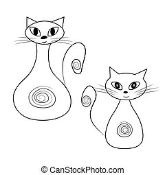 Two funny outline cats. Vector image of cats on white background,