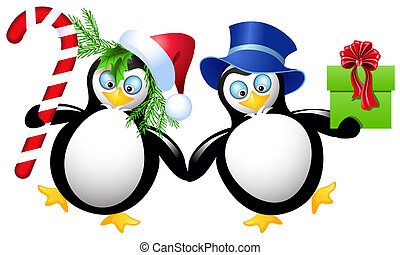 Two funny penguin