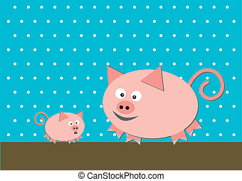 Two funny pigs