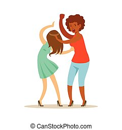 Two furious women characters fighting and quarelling, negative emotions concept vector Illustration