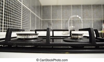 Two gas burner stove in  kitchen