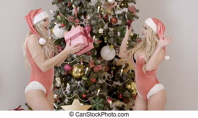 Two gay sexy female blondes throw a gift box near the...