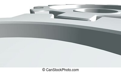 Two gears 3d animation of white color rotates . White background. Alpha channel. Close up