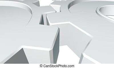 Two gears 3d animation of white color . White background. Alpha channel. Close up