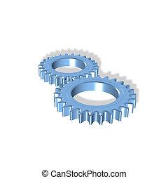 two gears - 3d gears illustration - partnership, teamwork,...