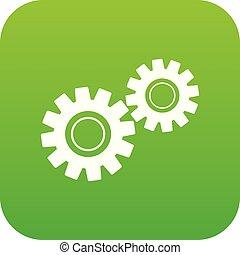 Two gears icon digital green