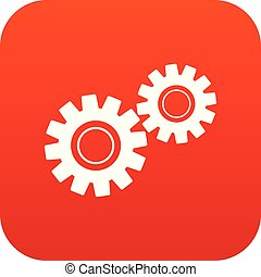 Two gears icon digital red