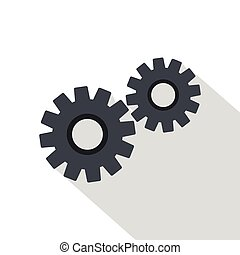 Two gears icon, flat style