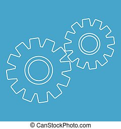 Two gears icon, outline style