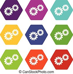 Two gears icon set color hexahedron