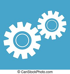 Two gears icon white