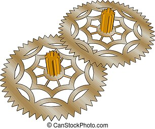 Two gears, illustration, vector on white background.
