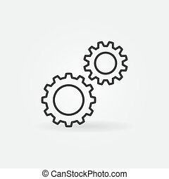 Two Gears outline icon. Settings vector concept symbol - Two...