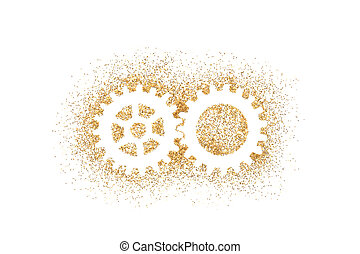 Two gears shape on golden glitter isolated on white background