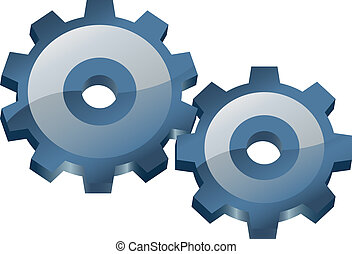 Two gears. Vector illustration.