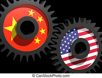 Two gears with the flags of China and USA