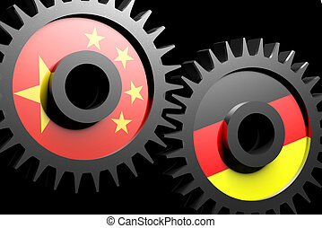 Two gears with the flags of china and Germany