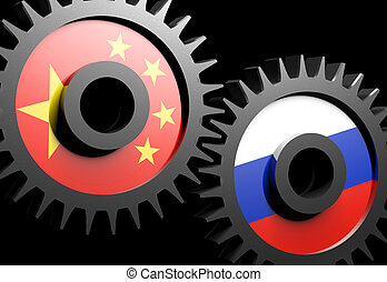 Two gears with the flags of China and Russia