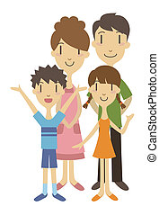 Two generation family - Parents and children standing...