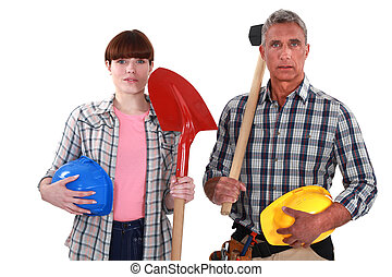 Two generations of builders