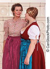 Two generations of women in dirndl