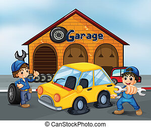 Illustration of the two gentlemen with tools at the garage