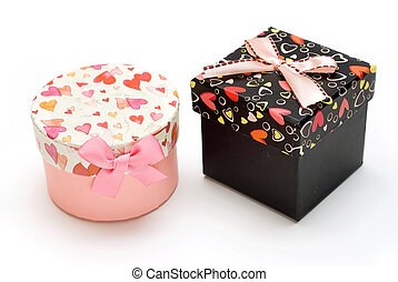 two gift box in white background