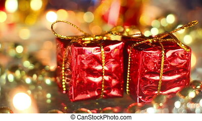 two gift boxes christmas loopable background
