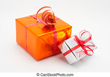 Two gift boxes white background