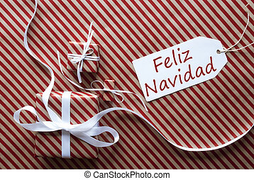 Two Gifts With Label, Feliz Navidad Means Merry Christmas