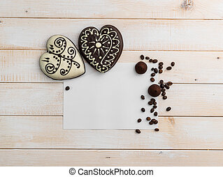 two gingerbread cookies in the form of heart