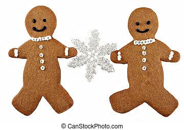 Two Gingerbread Man Cookies Holding a Snowflake