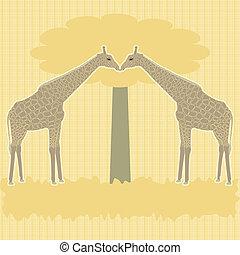 Two giraffes under tree vector