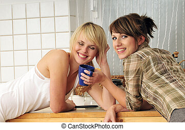 friends drinking coffee a having a conversation