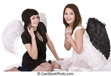 Two girl in angel costume. Isolated.