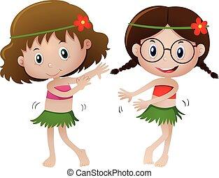 Two girl in hawaii costume dancing