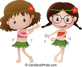 Two girl in hawaii costume dancing