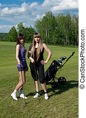 Two girl on golf field