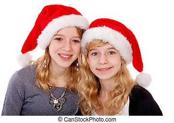 Two girl with christmas hat