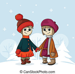 two girlfriends in winter