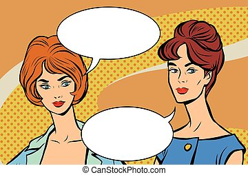 Two girlfriends retro women vector pop art