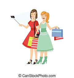 Two Girlfriends Shopping Taking Picture With Selfie Stick Illustration