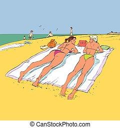 Two girlfriends sunbathing on the crowded beach