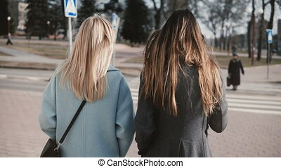 Two girlfriends walking together in the street. Young ladies...