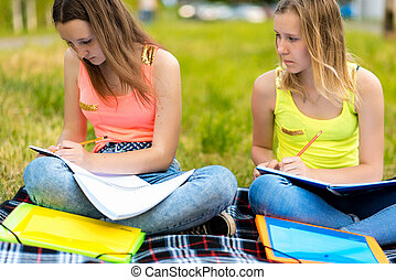 Two girls are female students. In summer they do their homework in nature. The concept of school classes in nature, training at the institute. Emotion focus attention.