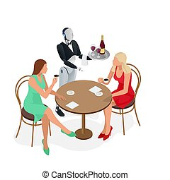 Two girls are sitting in a cafe. Robot waiter in tuxedo and gloves holding a wine and goblets tray and napkin. Isometric vector illustration