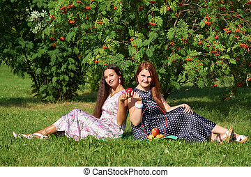 Two girls at picnic
