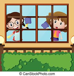 Two girls cleaning window at home