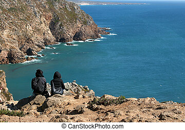 Costa Vicentina - Two girls contemplating the breathtaking ...